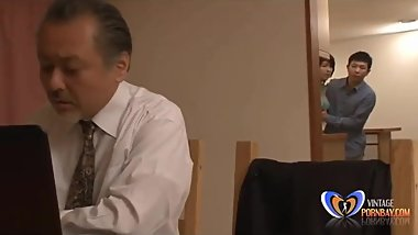 Japanese milf getting orgasm in front of her husband