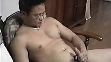 Japanese daddy jerk off